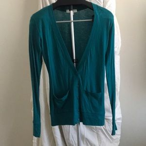 Forever 21 Sweaters - Teal half button up with deep V-neck